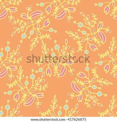 Amazing floral pattern with bright colorful  plants, branches and berries. The elegant the template for fashion prints.