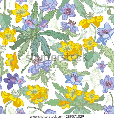 Amazing Floral Spring forest pattern in bright colors. Bright illustration, can be used for creating card, invitation card for wedding,wallpaper and textile. - stock vector