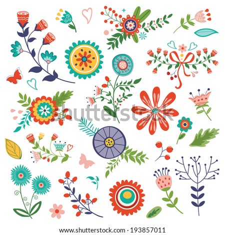 Amazing flowers colorful collection. Vector illustration - stock vector
