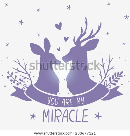amazing illustration with silhouettes of beautiful portrait couple deer with place for text - stock vector
