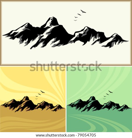 Amazing Mountain And Hills ICONs - stock vector