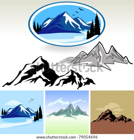 Amazing Mountain And Hills SYMBOLS - stock vector