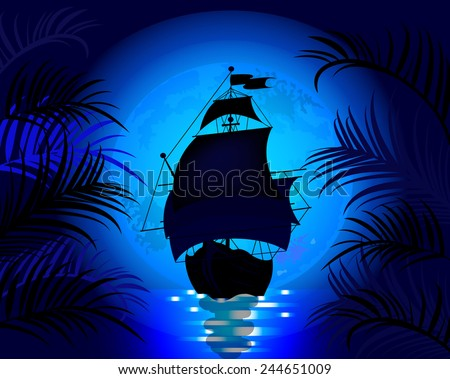 Amazing night landscape with sailing ship at sea on a background of blue moon - stock vector