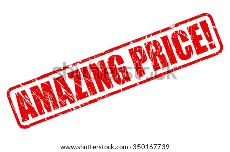 AMAZING PRICE red stamp text on white - stock vector