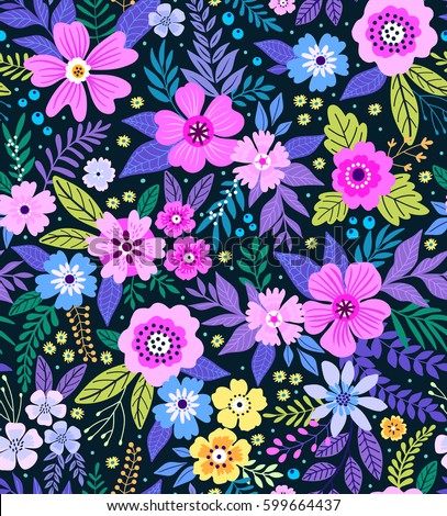 Amazing Seamless Floral Pattern Bright Colorful Stock Vector 599664437    Shutterstock