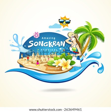 Amazing Songkran Festival in Thailand seashore concept design background, vector illustration - stock vector