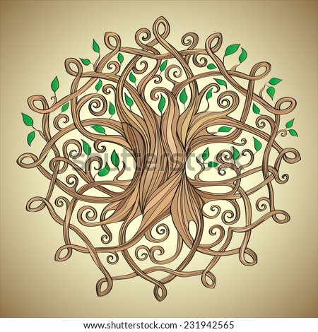 Amazing tree of life in the Celtic pattern with leaves - stock vector