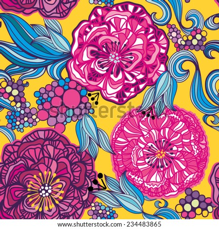 Amazing vector seamless pattern go graphic flowers. Endless background. Ethnic seamless pattern. Vector backdrop. Summer template. Use for wallpaper,pattern fills, web page background. - stock vector