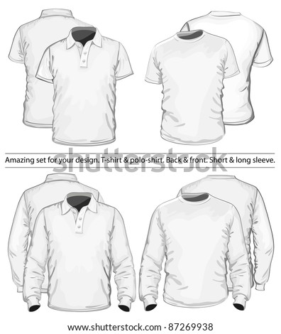 Amazing vector set. Men's polo-shirt and t-shirt design template (front and back view). Long and short sleeve. No mesh. - stock vector