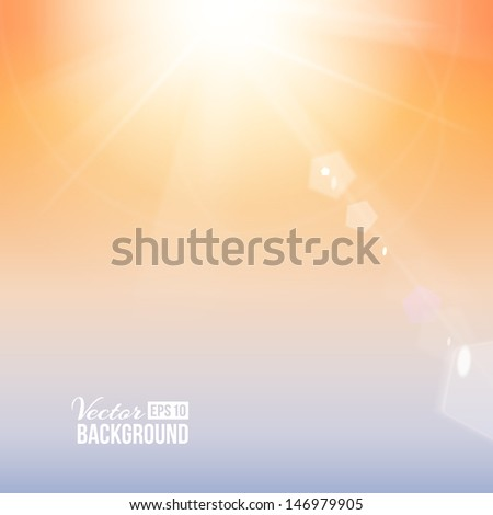 Amazing view of light over sky. Vector illustration. - stock vector