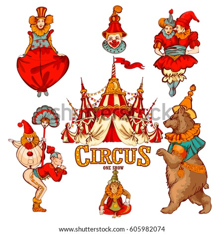 amazing vintage circus show set colored stock vector hd royalty rh shutterstock com vintage circus clipart vintage circus clip art free