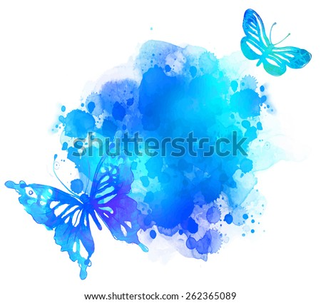 Amazing watercolor background with butterfly. Vector art isolated on white - stock vector