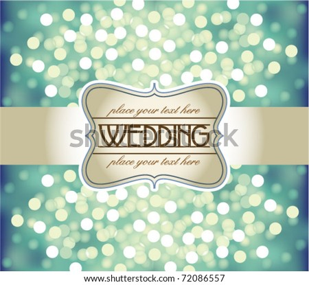 Amazing Wedding invitation on blue glittering background - stock vector