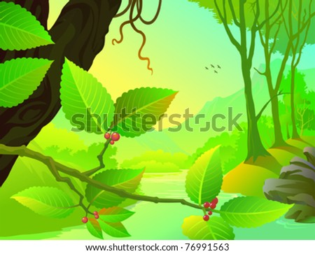 Amazon Forest Flora and Fauna - stock vector