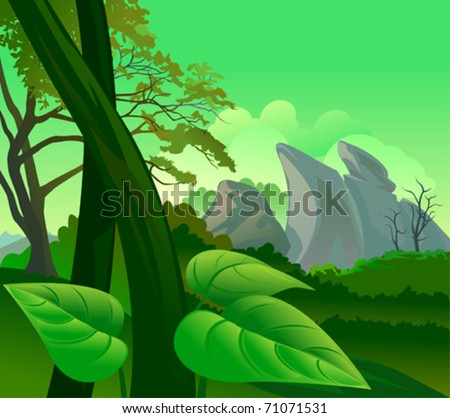 Amazon Rain Forest Flora and  Fauna - stock vector