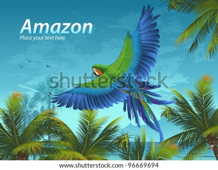 Amazon. Tropical background with parrots and palm trees. - stock vector