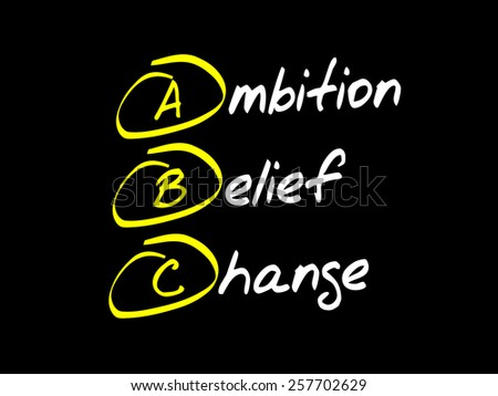 Ambition Belief Change (ABC), business concept acronym - stock vector
