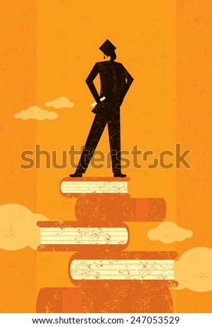 Ambitious Graduate An ambitious graduate standing on books over an abstract sky background. The graduate and the background are on separate labeled layers.  - stock vector