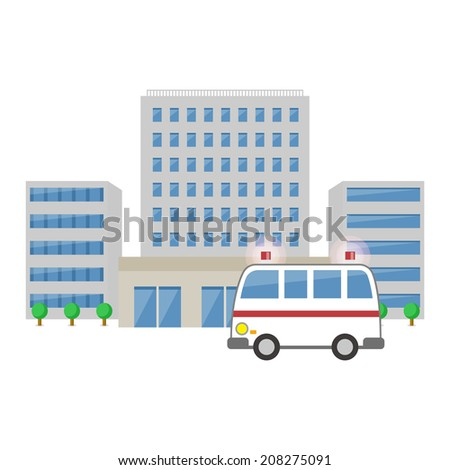 Ambulance and hospital - stock vector