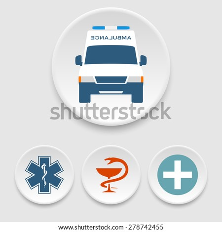 Ambulance car and medical icons - stock vector