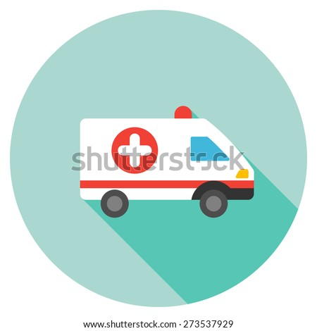 Ambulance car icon. Flat round button with long shadow. - stock vector