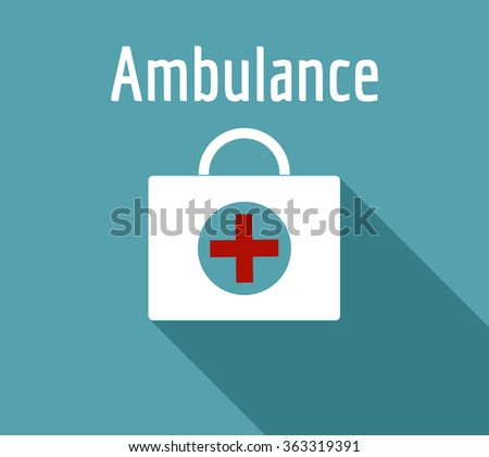 ambulance  first aid kit on a blue background