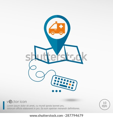 Ambulance icon and pin on the map. Line icons for application development, creative process.  - stock vector