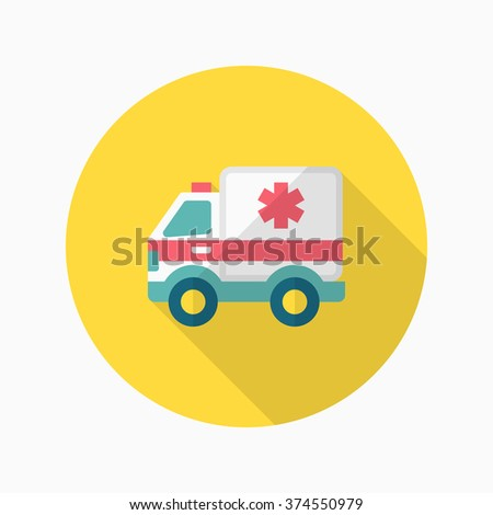 Ambulance icon , Vector flat long shadow design.  - stock vector
