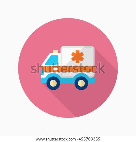 Ambulance icon , Vector flat long shadow design. - stock vector