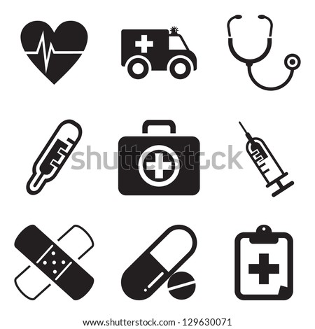Ambulance Icons - stock vector