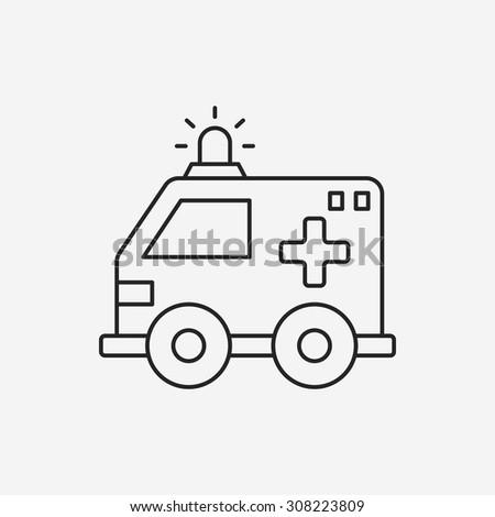 ambulance line icon - stock vector
