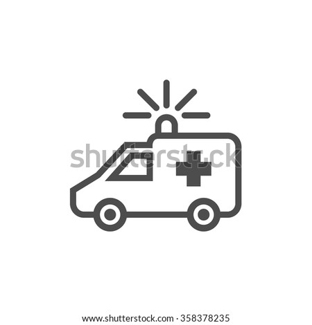 Ambulance line icon on white background. Vector illustration - stock vector