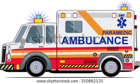 Ambulance on a white background,  - stock vector