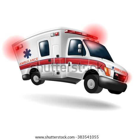 ambulance speeding ,vector cartoon - stock vector