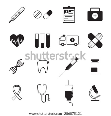 Ambulatory healthcare medical  icons set with heart rate symbol and blood test abstract black isolated vector illustration - stock vector