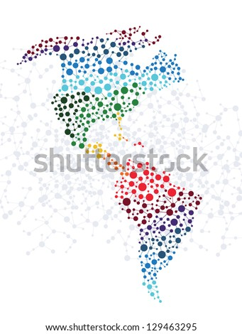 America abstract background with dot connection vector - stock vector