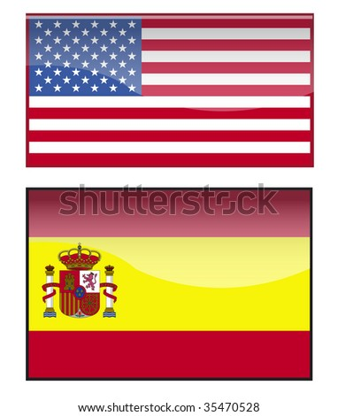 america and spain - stock vector