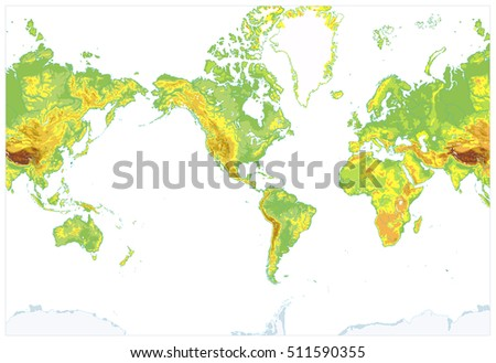 Topographic world map stock images royalty free images vectors america centered detailed physical world map isolated on white highly detailed vector illustration of physical publicscrutiny Choice Image