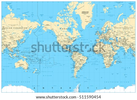 America centered world map highly detailed stock vector 511590454 america centered world map highly detailed vector illustration of physical world map gumiabroncs Gallery