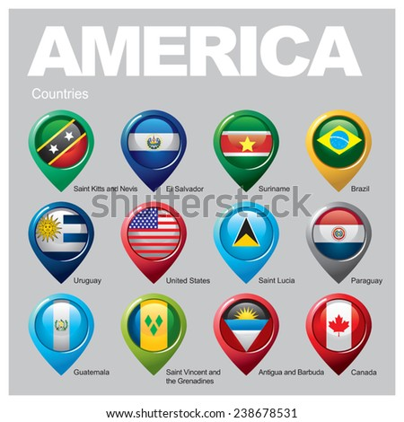 AMERICA Countries - Part  Five - stock vector