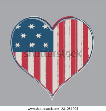 America flag  heart  illustration, t-shirt graphics, vectors - stock vector