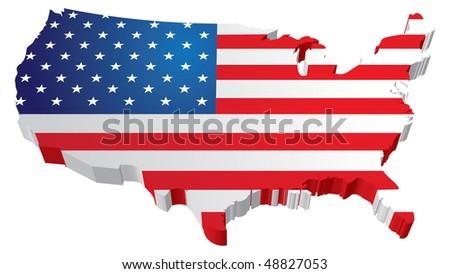 America Flag map - stock vector