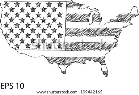 America Flag Map Vector Sketch Usa Stock Vector - Sketch drawing us map