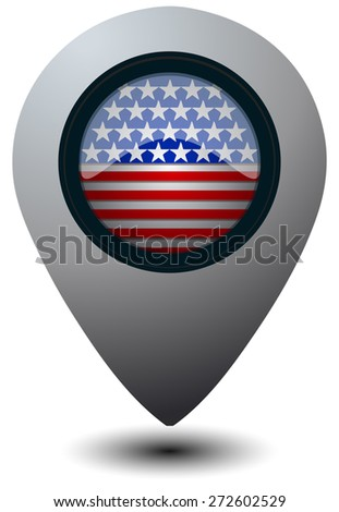 America Flag on a Map Marker, Vector Illustration isolated on White Background.  - stock vector