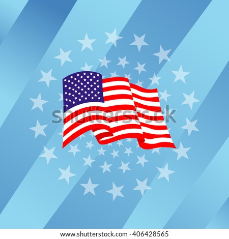 America flag over star circle on strip plate color blue, cyan - stock vector