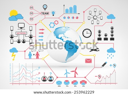 America globe map with blue red info graphic icons and graphs around vector background for web and media design collection illustration - stock vector