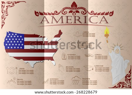 America infographics, statistical data, sights. Vector illustration - stock vector