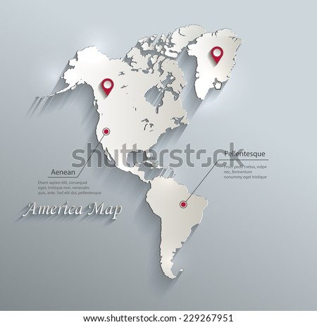 America map blue white card paper 3D vector infographics   - stock vector