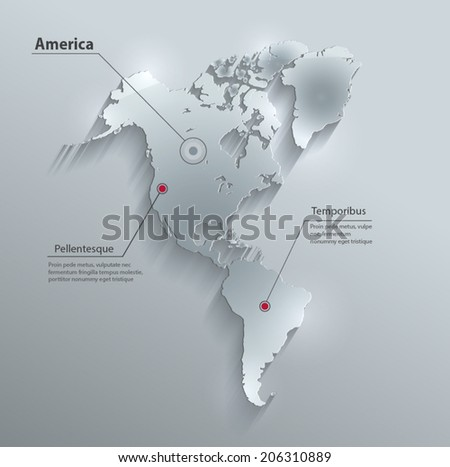 America map continent glass card paper 3D water vector - stock vector