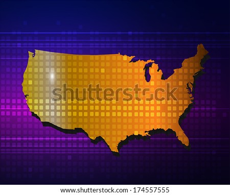 America map on purple blue abstract background